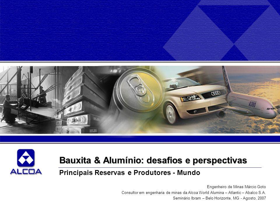 Bauxita & Alumínio: desafios e perspectivas Principais Reservas e Produtores - Mundo Engenheiro de Minas Márcio Goto Consultor em engenharia de minas