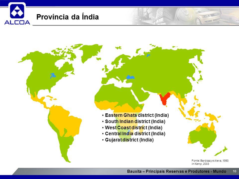 Bauxita – Principais Reservas e Produtores - Mundo 10 Província da Índia Eastern Ghats district (India) South Indian district (India) West Coast distr