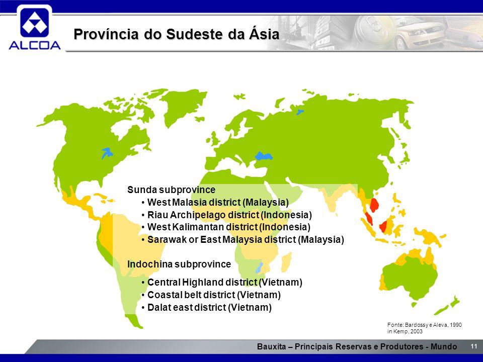Bauxita – Principais Reservas e Produtores - Mundo 11 Província do Sudeste da Ásia Sunda subprovince West Malasia district (Malaysia) Riau Archipelago