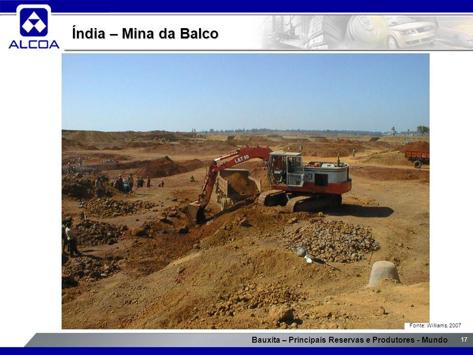 Bauxita – Principais Reservas e Produtores - Mundo 17 Índia – Mina da Balco Fonte: Williams, 2007