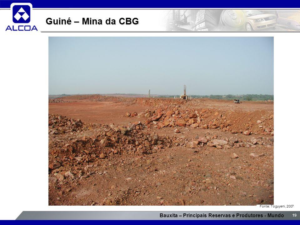 Bauxita – Principais Reservas e Produtores - Mundo 19 Guiné – Mina da CBG Fonte: Toguyeni, 2007