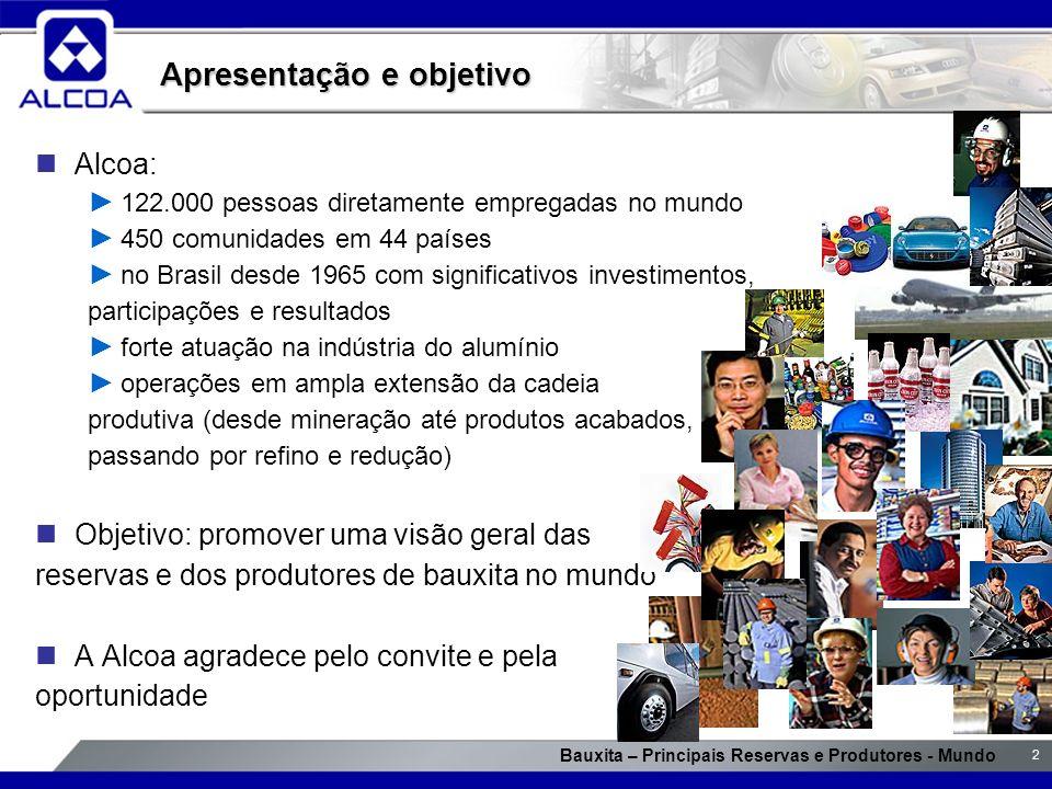 Bauxita – Principais Reservas e Produtores - Mundo 2 Alcoa: 122.000 pessoas diretamente empregadas no mundo 450 comunidades em 44 países no Brasil des
