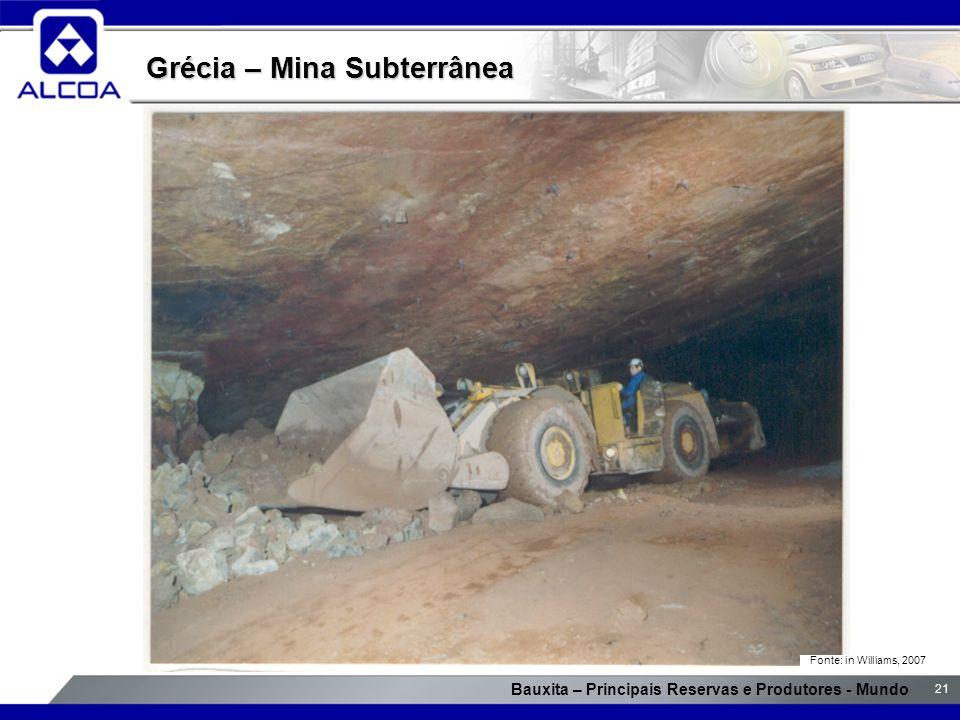Bauxita – Principais Reservas e Produtores - Mundo 21 Grécia – Mina Subterrânea Fonte: in Williams, 2007