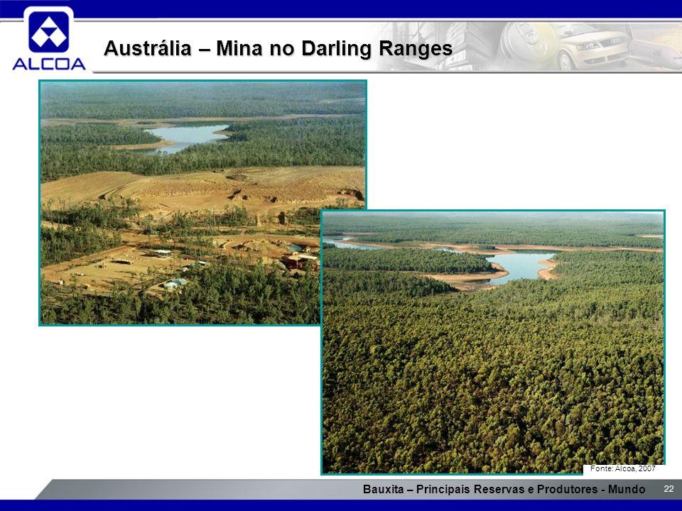 Bauxita – Principais Reservas e Produtores - Mundo 22 Austrália – Mina no Darling Ranges Fonte: Alcoa, 2007