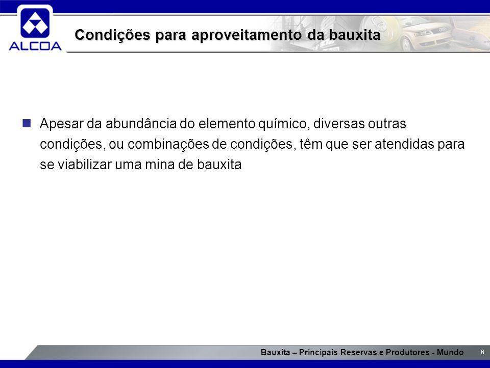 Bauxita – Principais Reservas e Produtores - Mundo 6 Condições para aproveitamento da bauxita Apesar da abundância do elemento químico, diversas outra