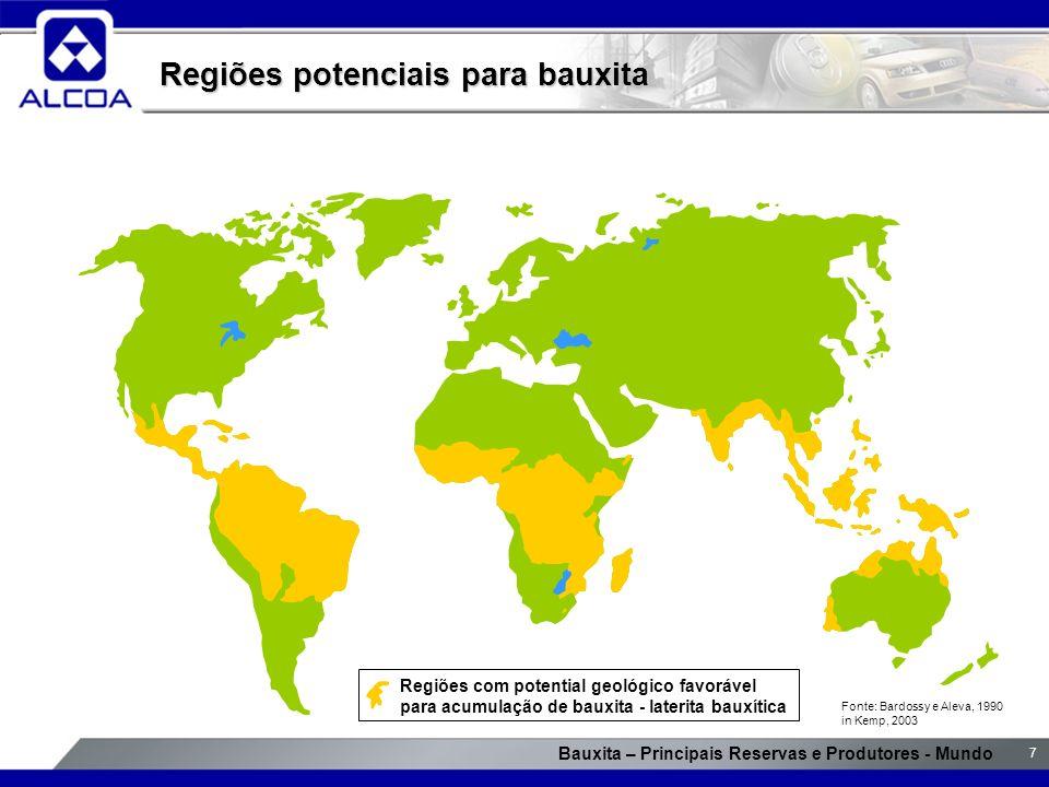 Bauxita – Principais Reservas e Produtores - Mundo 7 Regiões potenciais para bauxita Fonte: Bardossy e Aleva, 1990 in Kemp, 2003 Regiões com potential