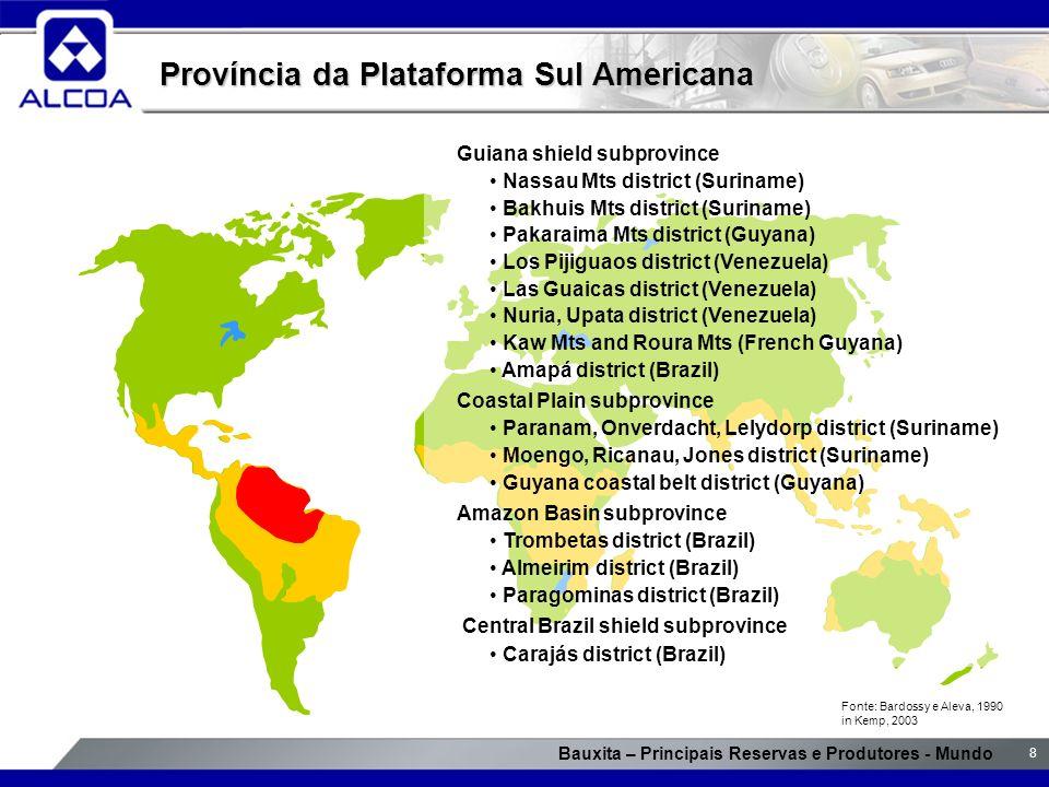 Bauxita – Principais Reservas e Produtores - Mundo 8 Província da Plataforma Sul Americana Guiana shield subprovince Nassau Mts district (Suriname) Ba