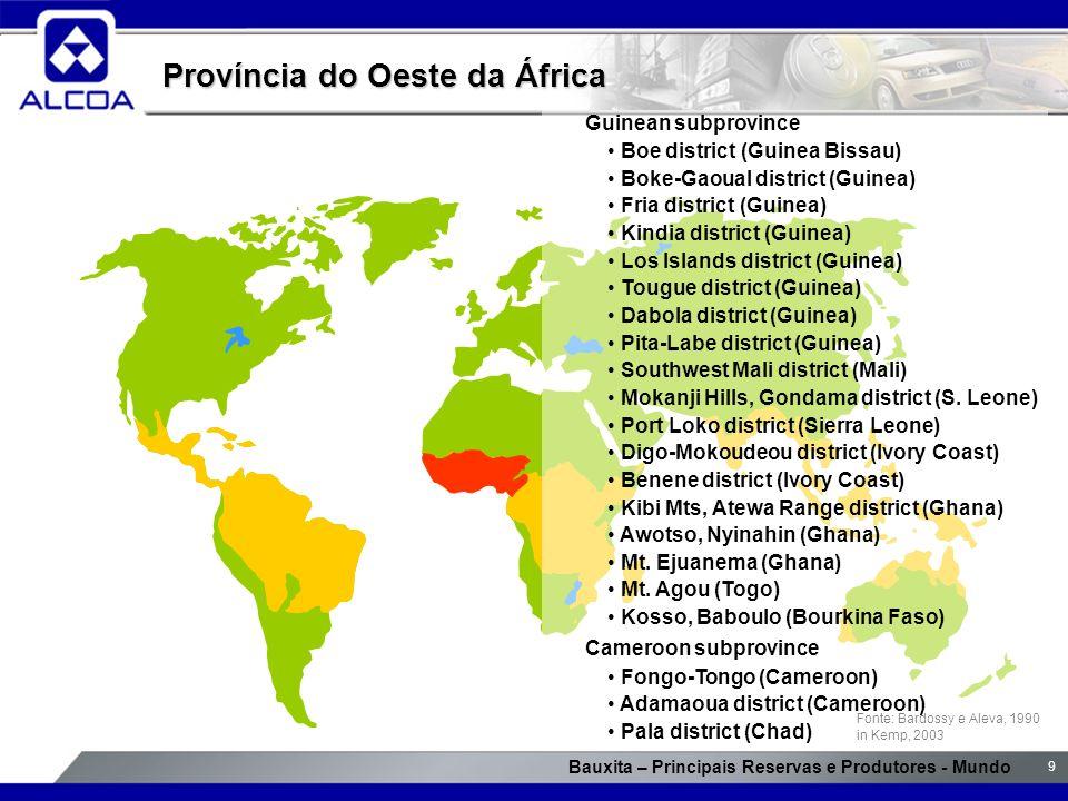 Bauxita – Principais Reservas e Produtores - Mundo 9 Província do Oeste da África Fonte: Bardossy e Aleva, 1990 in Kemp, 2003 Guinean subprovince Boe