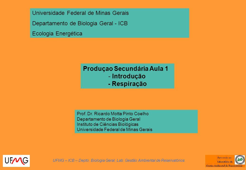 Produçao Secundária Aula 1 - Introdução - Respiração UFMG – ICB – Depto. Biologia Geral, Lab. Gestão Ambiental de Reservatórios Prof. Dr. Ricardo Mott