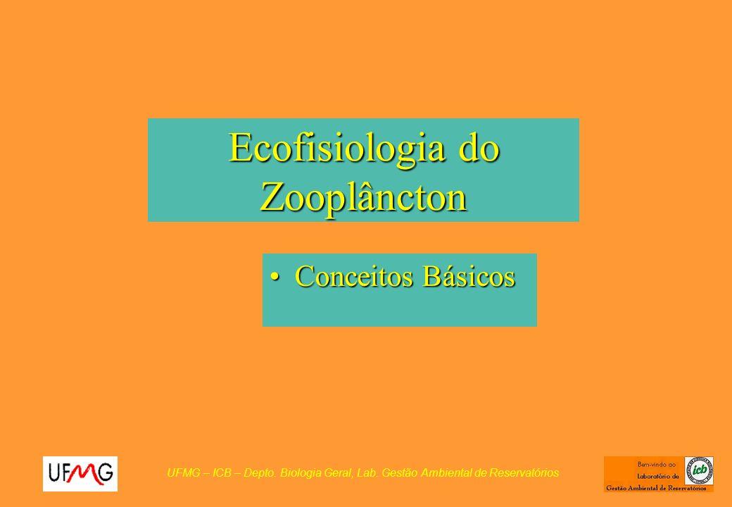 Ecofisiologia do Zooplâncton Conceitos BásicosConceitos Básicos UFMG – ICB – Depto. Biologia Geral, Lab. Gestão Ambiental de Reservatórios