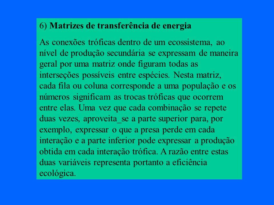 6) Matrizes de transferência de energia As conexões tróficas dentro de um ecossistema, ao nível de produção secundária se expressam de maneira geral p