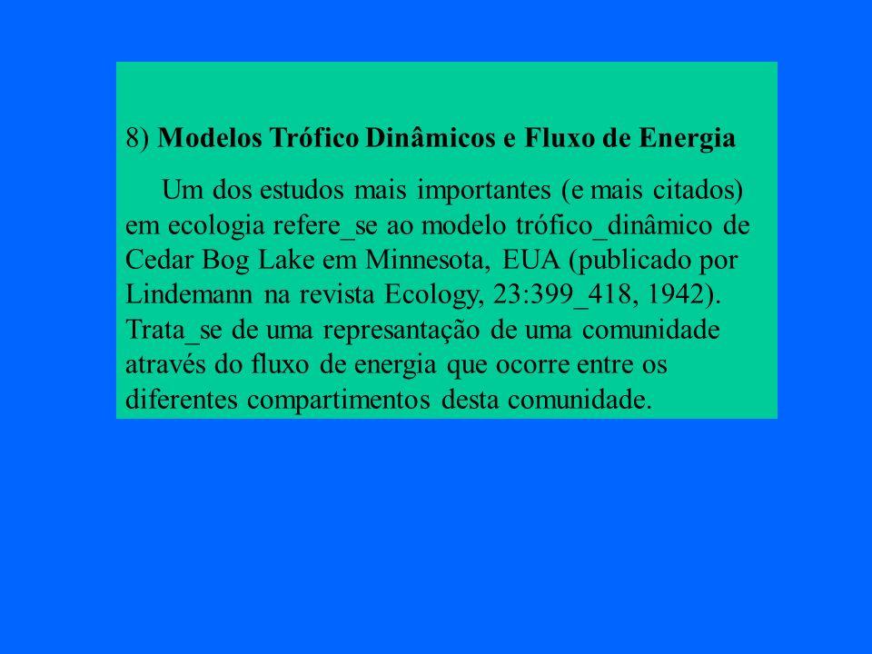 8) Modelos Trófico Dinâmicos e Fluxo de Energia Um dos estudos mais importantes (e mais citados) em ecologia refere_se ao modelo trófico_dinâmico de C