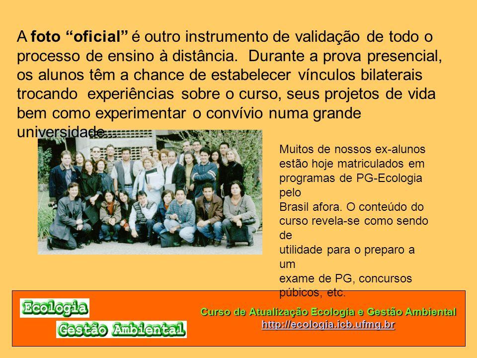 Curso de Atualização Ecologia e Gestão Ambiental http://ecologia.icb.ufmg.br A foto oficial é outro instrumento de validação de todo o processo de ens