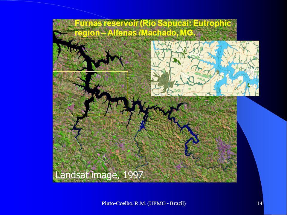 Pinto-Coelho, R.M. (UFMG - Brazil)14 Furnas reservoir (Rio Sapucaí: Eutrophic region – Alfenas /Machado, MG. Landsat image, 1997.