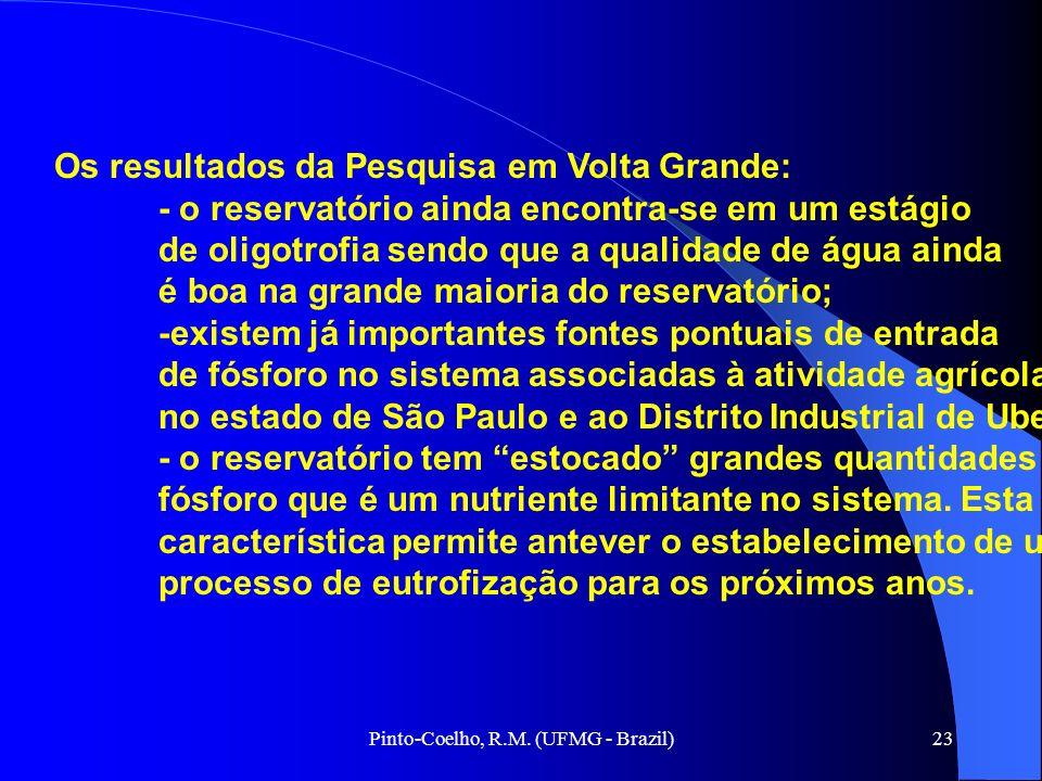 Pinto-Coelho, R.M. (UFMG - Brazil)23 Os resultados da Pesquisa em Volta Grande: - o reservatório ainda encontra-se em um estágio de oligotrofia sendo