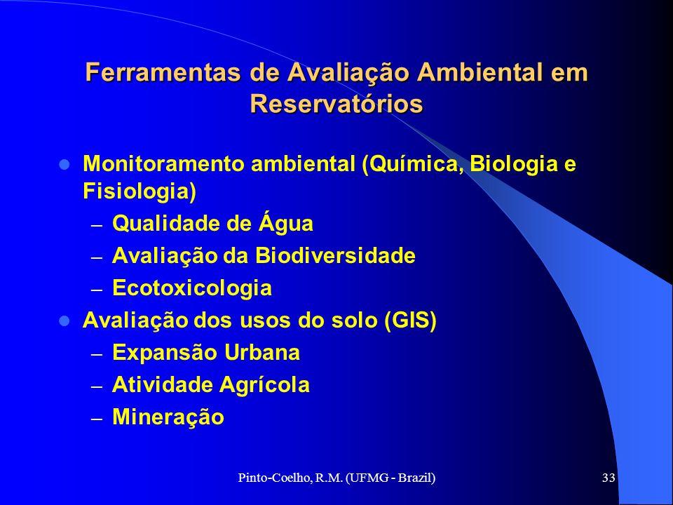 Pinto-Coelho, R.M. (UFMG - Brazil)33 Ferramentas de Avaliação Ambiental em Reservatórios Monitoramento ambiental (Química, Biologia e Fisiologia) – Qu