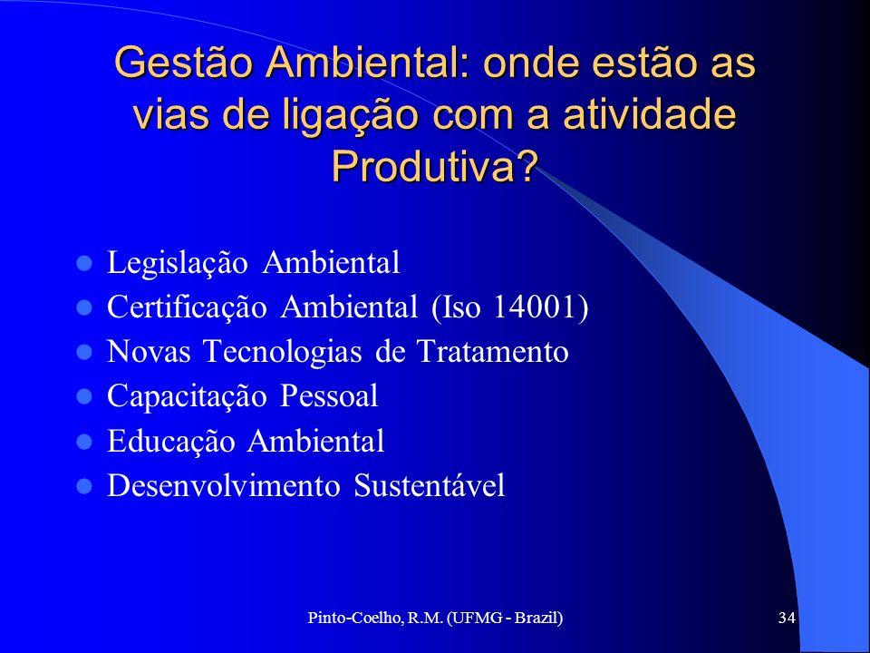 Pinto-Coelho, R.M. (UFMG - Brazil)34 Gestão Ambiental: onde estão as vias de ligação com a atividade Produtiva? Legislação Ambiental Certificação Ambi