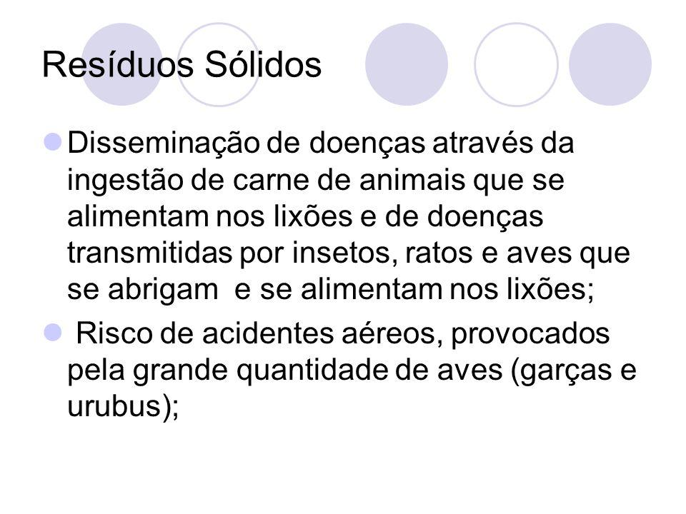 Resíduos Sólidos Disseminação de doenças através da ingestão de carne de animais que se alimentam nos lixões e de doenças transmitidas por insetos, ra