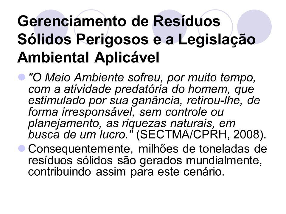 Gerenciamento de Resíduos Sólidos Perigosos e a Legislação Ambiental Aplicável