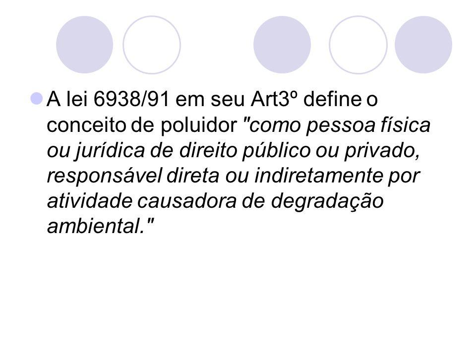 A lei 6938/91 em seu Art3º define o conceito de poluidor
