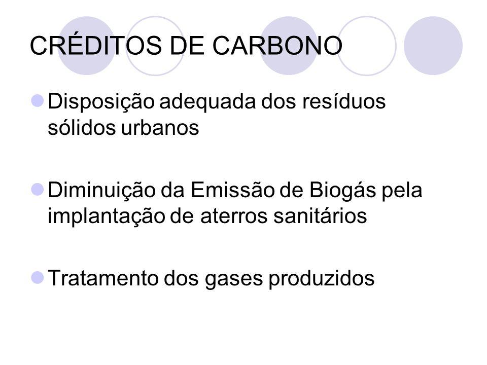 CRÉDITOS DE CARBONO Disposição adequada dos resíduos sólidos urbanos Diminuição da Emissão de Biogás pela implantação de aterros sanitários Tratamento