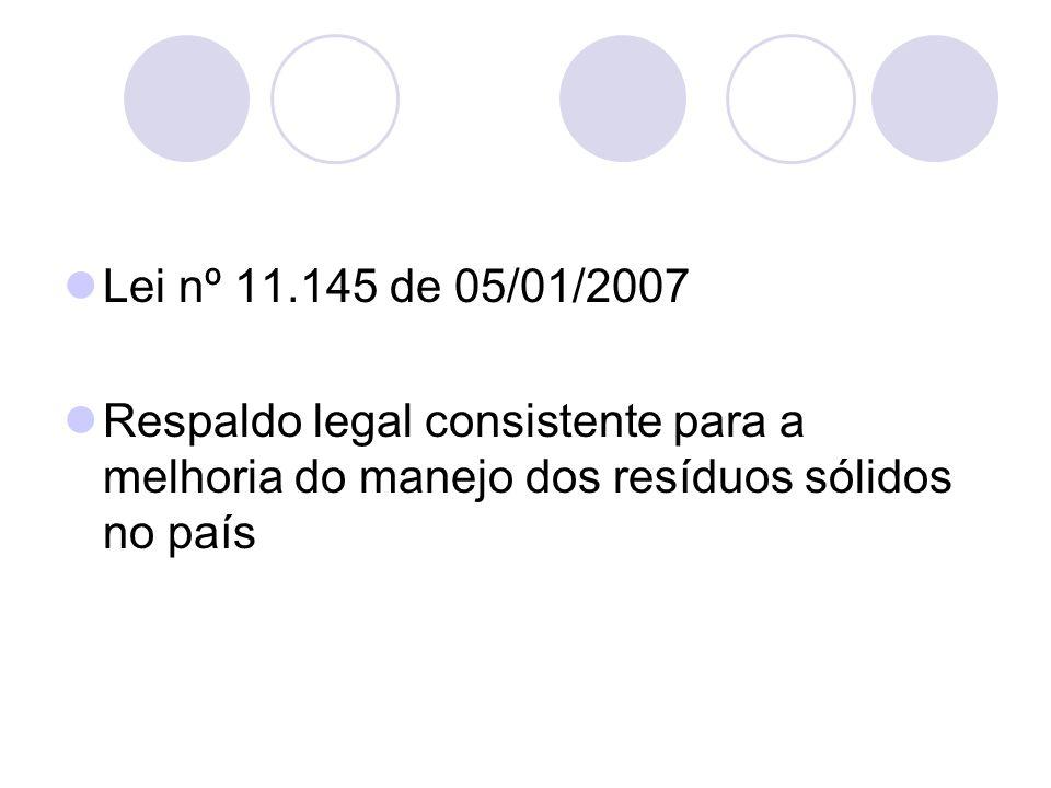 Lei nº 11.145 de 05/01/2007 Respaldo legal consistente para a melhoria do manejo dos resíduos sólidos no país
