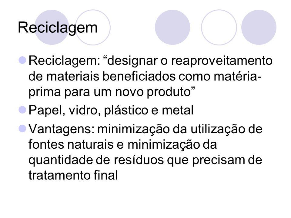 Reciclagem Reciclagem: designar o reaproveitamento de materiais beneficiados como matéria- prima para um novo produto Papel, vidro, plástico e metal V