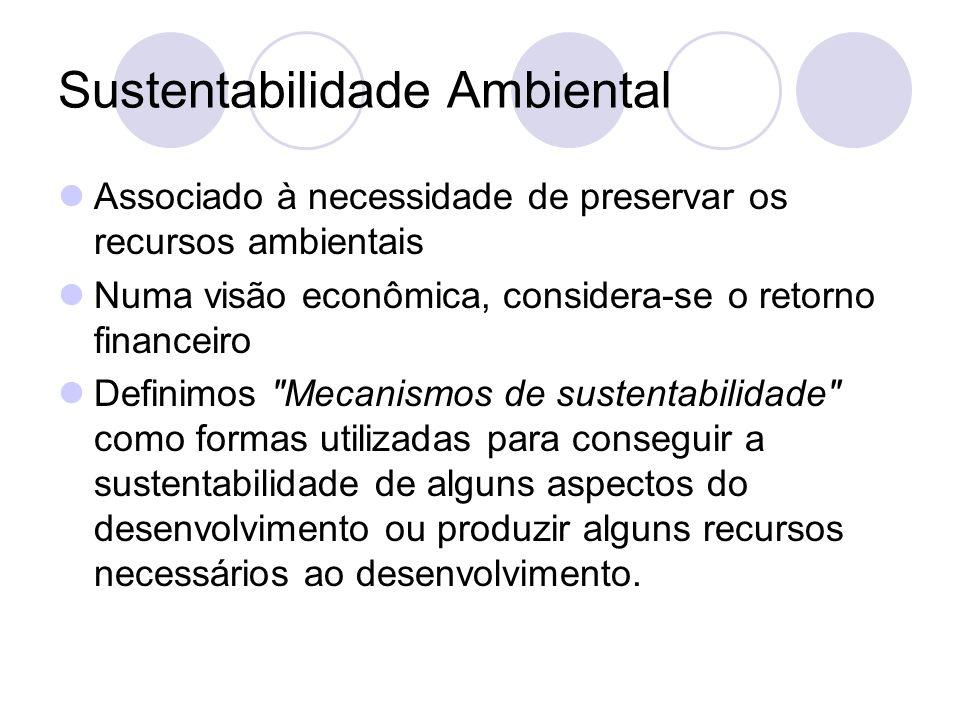 Sustentabilidade Ambiental Associado à necessidade de preservar os recursos ambientais Numa visão econômica, considera-se o retorno financeiro Definim