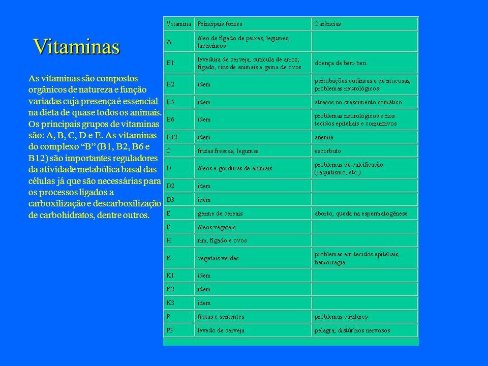Vitaminas As vitaminas são compostos orgânicos de natureza e função variadas cuja presença é essencial na dieta de quase todos os animais. Os principa