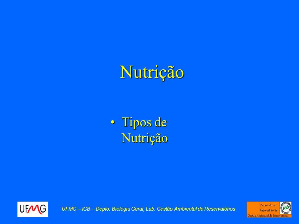 Nutrição Tipos de NutriçãoTipos de Nutrição UFMG – ICB – Depto. Biologia Geral, Lab. Gestão Ambiental de Reservatórios
