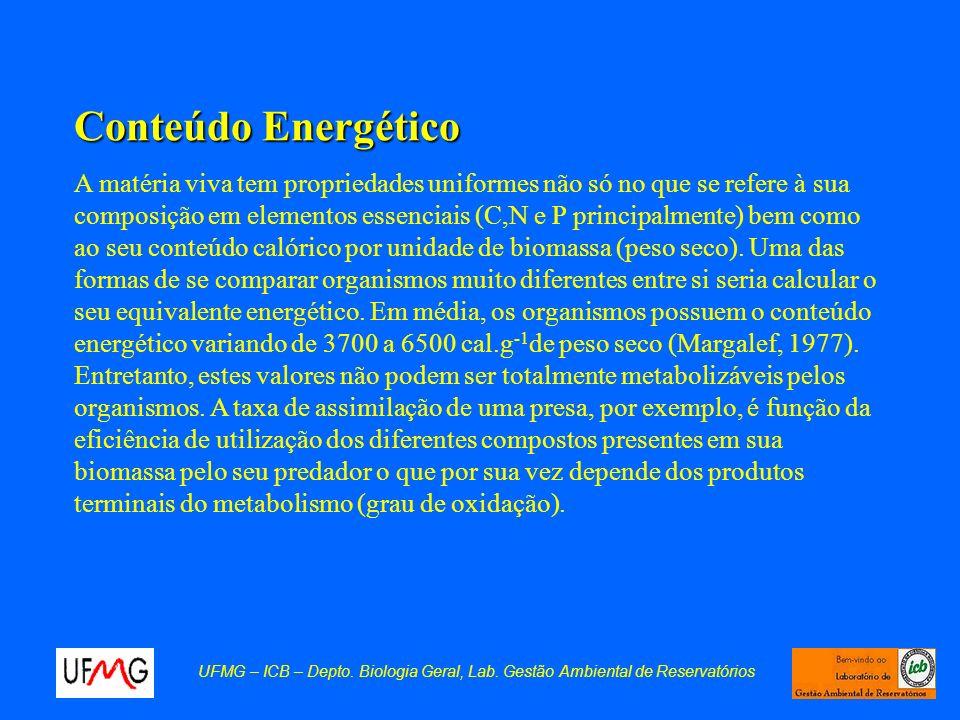 Conteúdo Energético A matéria viva tem propriedades uniformes não só no que se refere à sua composição em elementos essenciais (C,N e P principalmente