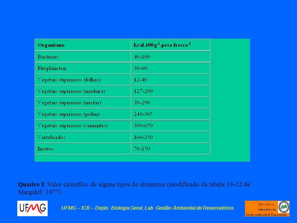 Quadro I: Valor calorífico de alguns tipos de alimentos (modificado da tabela 14-12 de Margalef, 1977). UFMG – ICB – Depto. Biologia Geral, Lab. Gestã