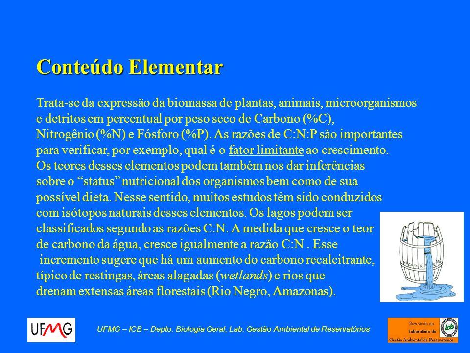 Conteúdo Elementar Trata-se da expressão da biomassa de plantas, animais, microorganismos e detritos em percentual por peso seco de Carbono (%C), Nitr