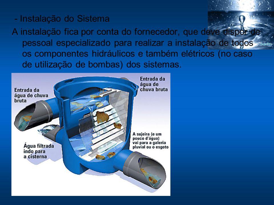 - Instalação do Sistema A instalação fica por conta do fornecedor, que deve dispor de pessoal especializado para realizar a instalação de todos os com