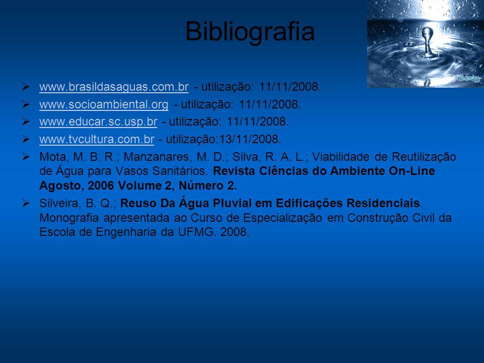 Bibliografia www.brasildasaguas.com.br - utilização: 11/11/2008. www.brasildasaguas.com.br www.socioambiental.org - utilização: 11/11/2008. www.socioa
