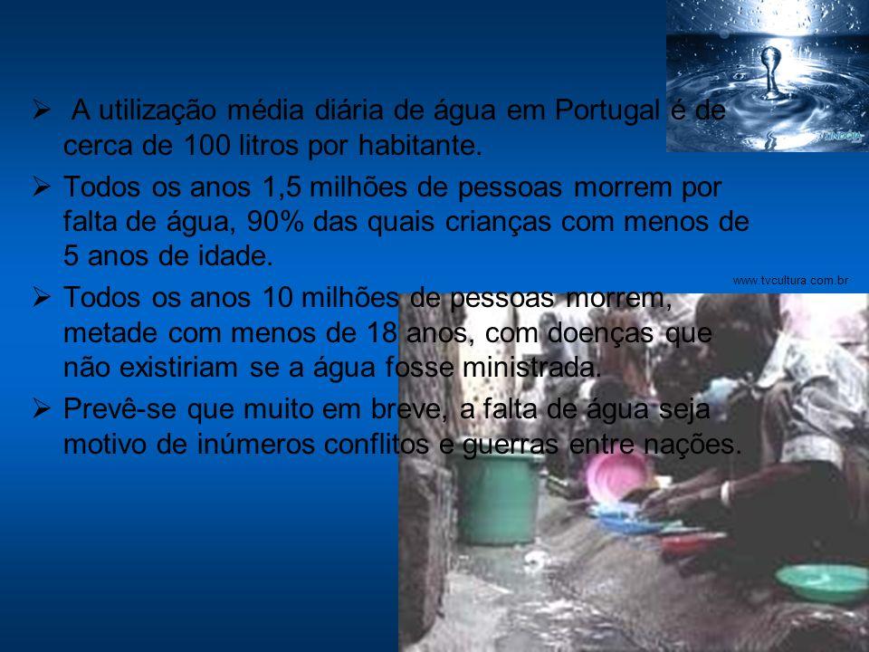 A utilização média diária de água em Portugal é de cerca de 100 litros por habitante. Todos os anos 1,5 milhões de pessoas morrem por falta de água, 9