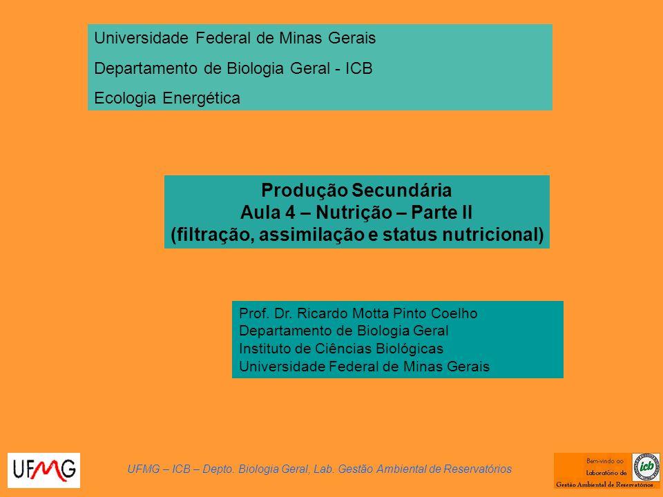 Produção Secundária Aula 4 – Nutrição – Parte II (filtração, assimilação e status nutricional) UFMG – ICB – Depto. Biologia Geral, Lab. Gestão Ambient