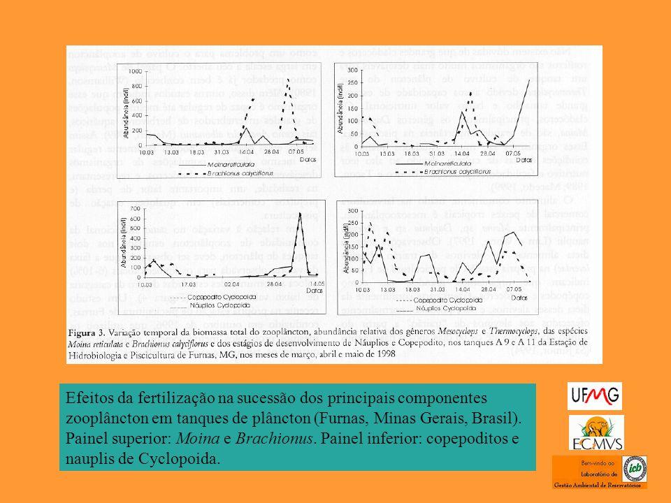 Efeitos da fertilização na sucessão dos principais componentes zooplâncton em tanques de plâncton (Furnas, Minas Gerais, Brasil). Painel superior: Moi