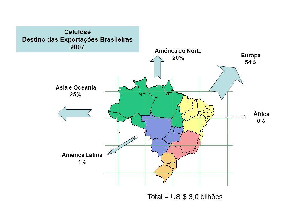 Asia e Oceania 25% América do Norte 20% Europa 54% América Latina 1% África 0% Celulose Destino das Exportações Brasileiras 2007 Total = US $ 3,0 bilh