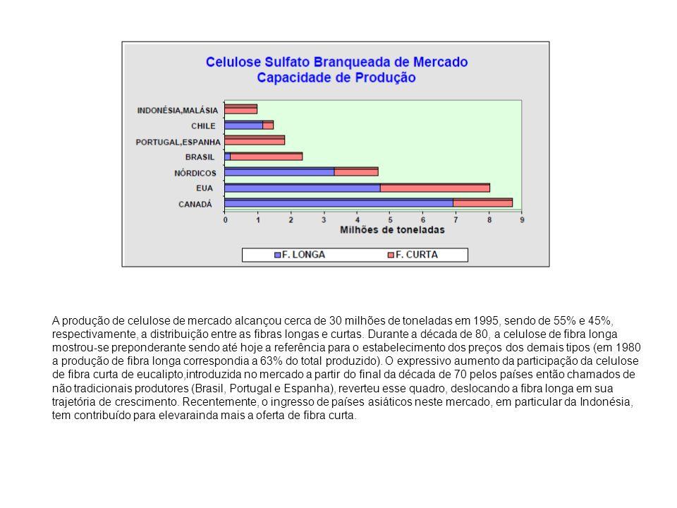 A produção de celulose de mercado alcançou cerca de 30 milhões de toneladas em 1995, sendo de 55% e 45%, respectivamente, a distribuição entre as fibr