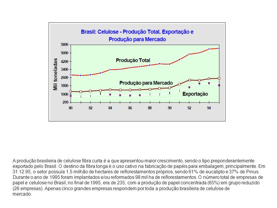 A produção brasileira de celulose fibra curta é a que apresentou maior crescimento, sendo o tipo preponderantemente exportado pelo Brasil. O destino d