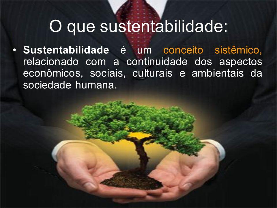 O que sustentabilidade: Sustentabilidade é um conceito sistêmico, relacionado com a continuidade dos aspectos econômicos, sociais, culturais e ambient