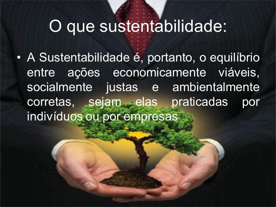 O que sustentabilidade: A Sustentabilidade é, portanto, o equilíbrio entre ações economicamente viáveis, socialmente justas e ambientalmente corretas,