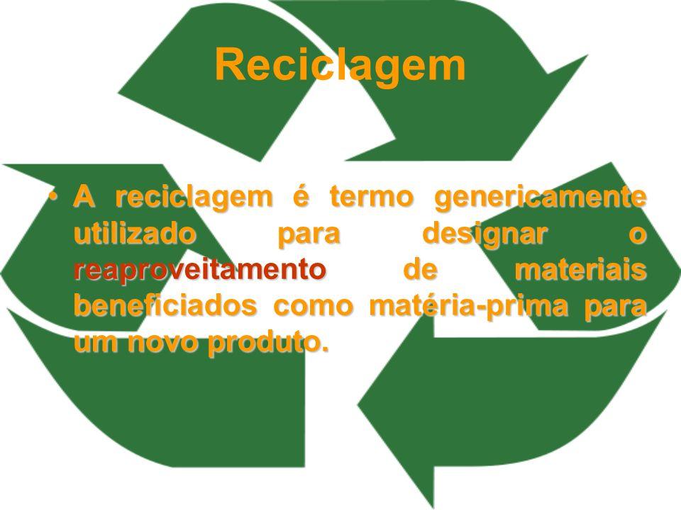 Reciclagem A reciclagem é termo genericamente utilizado para designar o reaproveitamento de materiais beneficiados como matéria-prima para um novo pro
