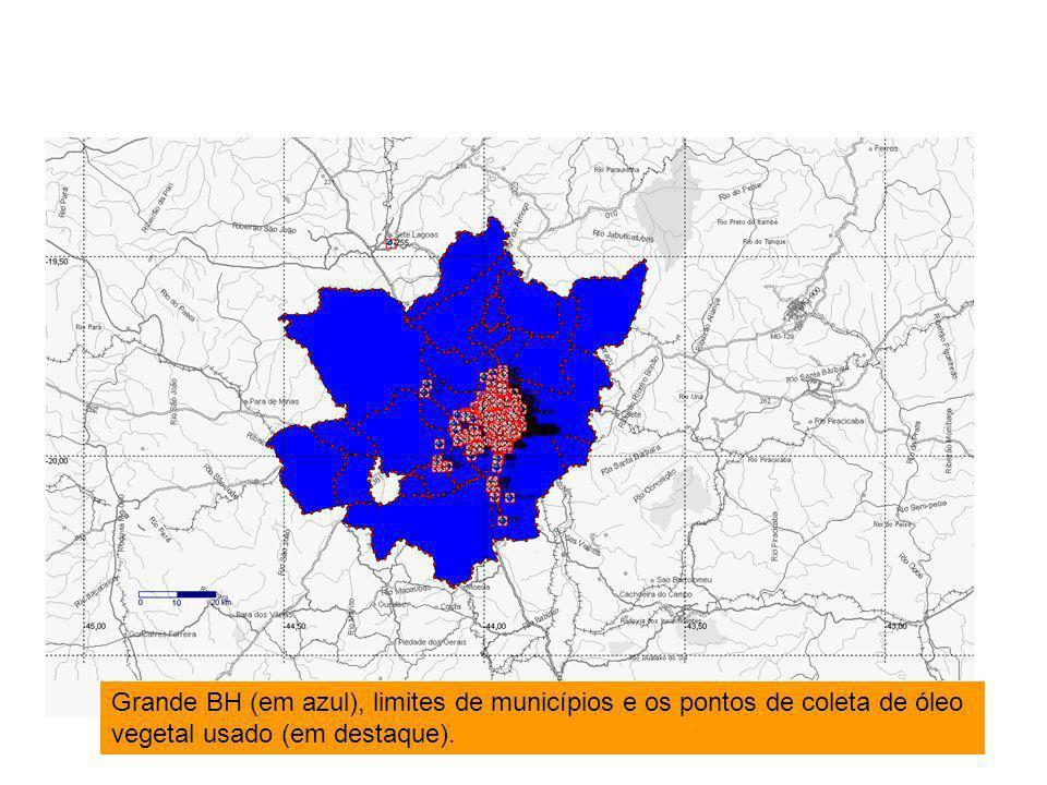 Grande BH (em azul), limites de municípios e os pontos de coleta de óleo vegetal usado (em destaque).