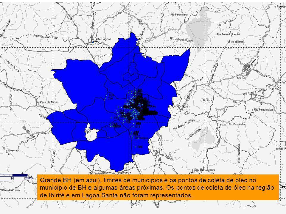 Grande BH (em azul), limites de municípios e os pontos de coleta de óleo no município de BH e algumas áreas próximas.