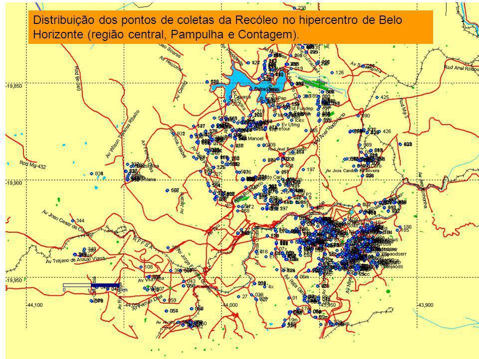Distribuição dos pontos de coletas da Recóleo no hipercentro de Belo Horizonte (região central, Pampulha e Contagem).