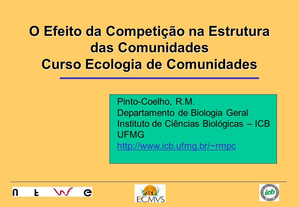 O Efeito da Competição na Estrutura das Comunidades Curso Ecologia de Comunidades Pinto-Coelho, R.M. Departamento de Biologia Geral Instituto de Ciênc