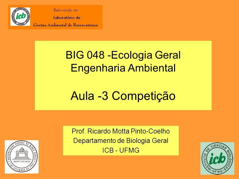 BIG 048 -Ecologia Geral Engenharia Ambiental Aula -3 Competição Prof. Ricardo Motta Pinto-Coelho Departamento de Biologia Geral ICB - UFMG