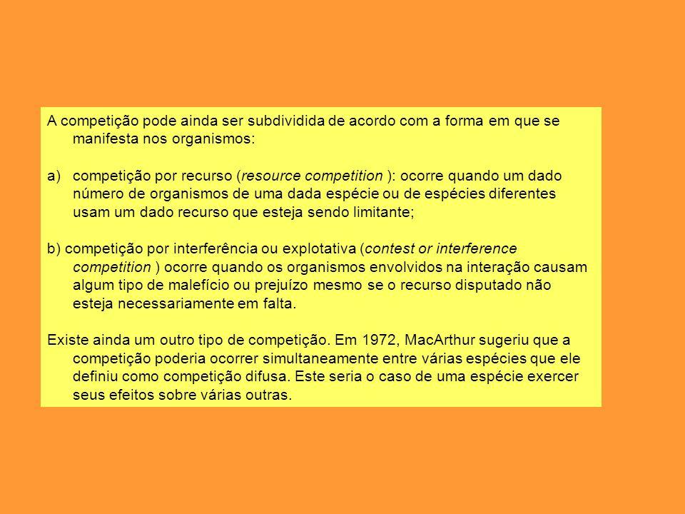 A competição pode ainda ser subdividida de acordo com a forma em que se manifesta nos organismos: a)competição por recurso (resource competition ): oc